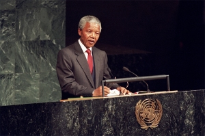 Nelson Mandela, addressing the UN General Assembly in 1999 Credit: Eskinder Debebe / UN Photo