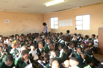 At this primary school in the Eastern Cape, South Africa, there are 174 learners in one class. Many children don't turn up to school because the learning conditions are so poor. Photo credit: UNESCO/Eva-Lotta Jansson