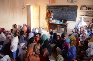 At this primary school in Shikarpur, Sindh, Pakistan there is only one teacher and she only has basic training. She is expected to look after 100 pupils over five different grades. Photo credit: UNESCO/Amima Sayeed