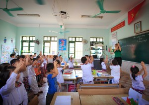 "This teacher in a school in Lao Cai, Viet Nam, uses the national curriculum which focuses on ensuring children learn the foundation skills at an early age. ""With Math and Vietnamese, you have the new curriculum.  What's different with the new model is that, the teacher no longer just ""lectures"" but has to constantly engage the students.   And where there is active teaching, there is active learning. In other words, the focus has switched from teachers to students."" - Photo credit: UNESCO/Tuan Nguyen"
