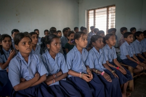 Sixth and seventh grade pupils in class at a government school in Andhra Pradesh in India.  Photo: Paloma Basi