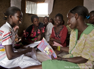 Girls attend Adolescent Girls' Club in Juba, South Sudan.