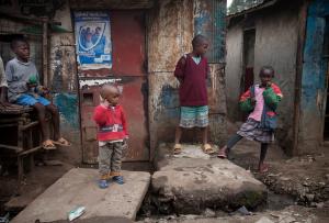 Children in a slum in Kenya's capital city, Nairobi. Credit: UNESCO/Kate Holt.
