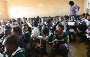 At the primary school level, there should be no more than 40 pupils per trained teacher. Credit: Eva-Lotta Jansson