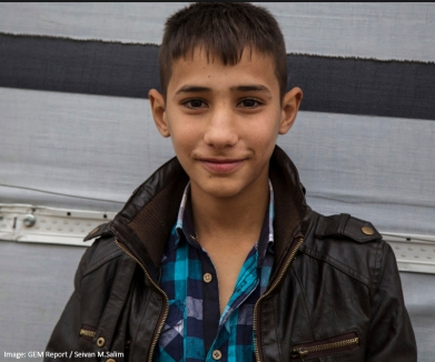 "Adnan, 13 years, Syrian refugee living in Dohuk, northern Iraq: ""I was in the 6th grade when we had to flee to Iraqi Kurdistan. After some months living in a camp we moved to Erbil, northern Iraq trying to get a better life. However in Erbil the (Sorani) dialect is spoken where as in northern Iraqi Kurdistan and the Syrian Kurds they speak the (Kermanji) dialect. This, along with the difference in the education system, has made it difficult for me to continue my education."""