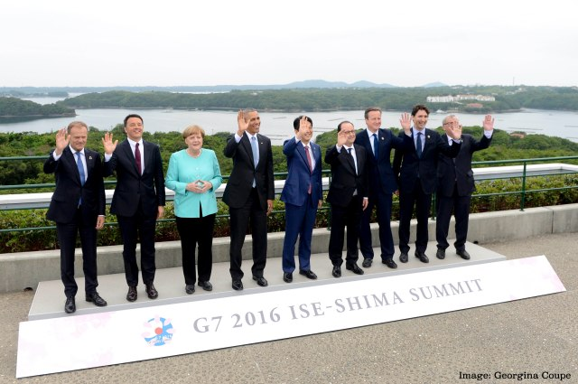 David Cameron and the other World Leaders have a Family Photograph taken at the G7 Summit