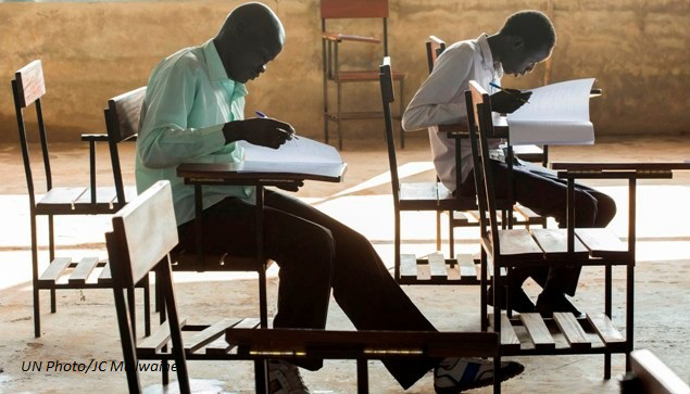 Students sit for the English portion of the SSCSE (South Sudan C